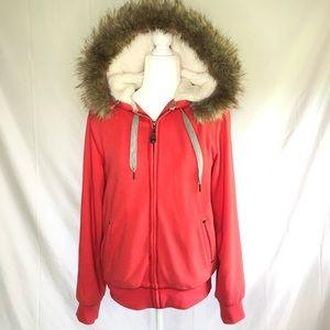 Green Tea hooded fleece lined sweatshirt, size M